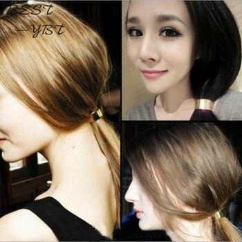 1 Uds., brazalete para el pelo con forma de círculo moderno, sujeción para cola de caballo, accesorios para el cabello, joyería para el cabello en plata y oro