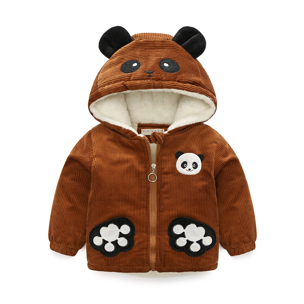 Kids Boys corduroy Hoodies Sweatshirts 2017 Korean girls padded Parka in children cartoon Panda style toddler clothing 2 6Year