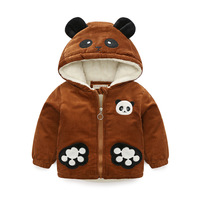 Kids Boys corduroy Hoodies Sweatshirts 2017 Korean girls padded Parka in children cartoon Panda style toddler clothing 2 6Year