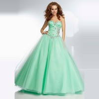 In Stock New Beaded Sweetheart Flowing Skirt Sage Cheap Tulle Quinceanera Dresses Ball Gown Prom Dresses