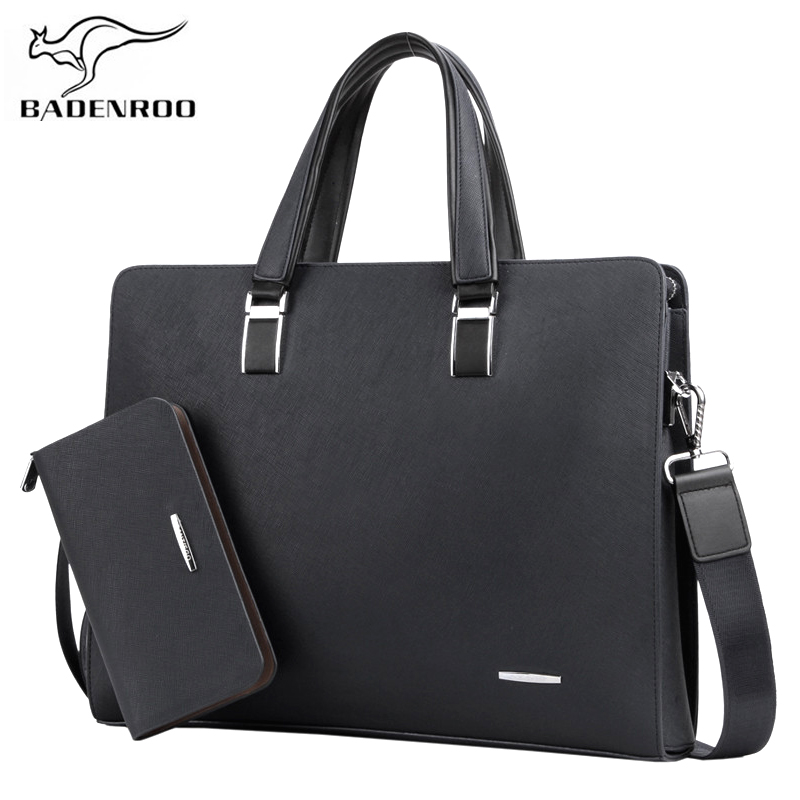 Badenroo 2 Set Genuine Leather Handbags Men Messenger Bags Man Laptop Bags Fashion Male Men's Briefcase Business Shoulder Bag цена 2017