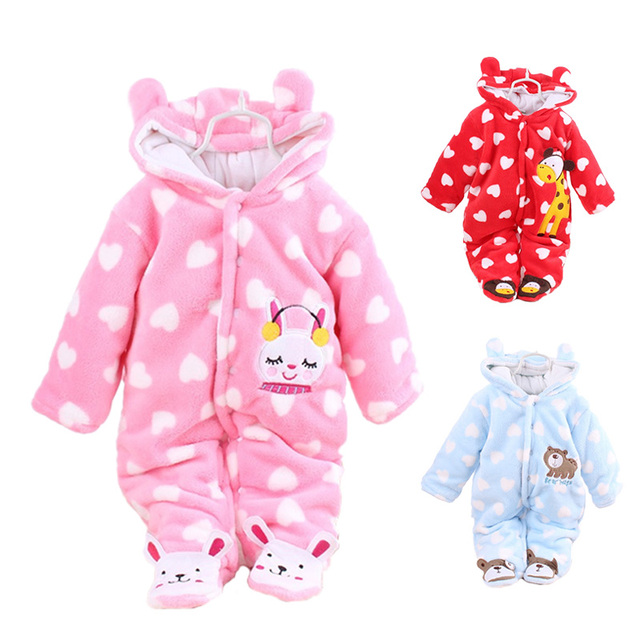 5602bd2238e Clearance Sale Baby Girls Rompers Winter Coral Fleece Kids Boy Clothing Set  Cartoon Hooded Newborn Clothes Warm Infant Jumpsuits