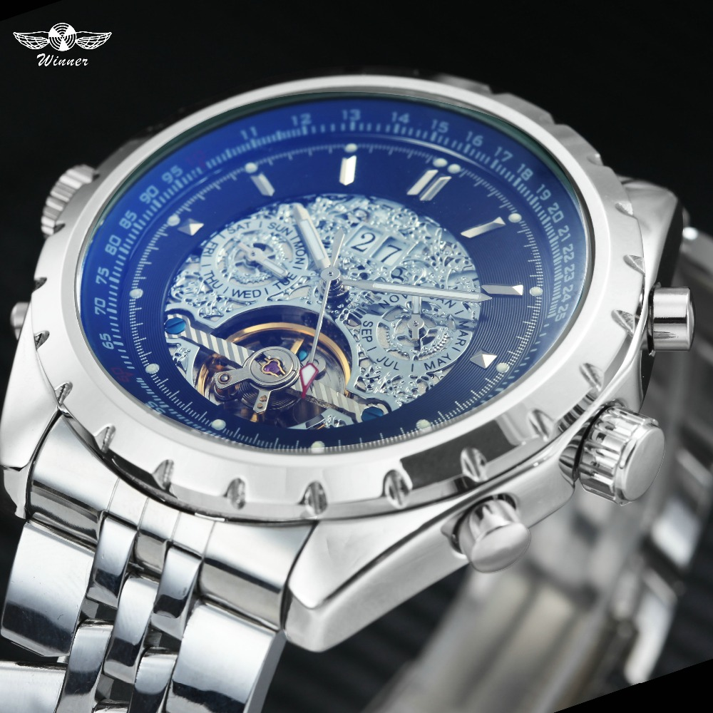 WINNER Men Business Automatic Mechanical Watch Tourbillion Calendar Date Skeleton Analog Dial Stainless-steel Band montre homme