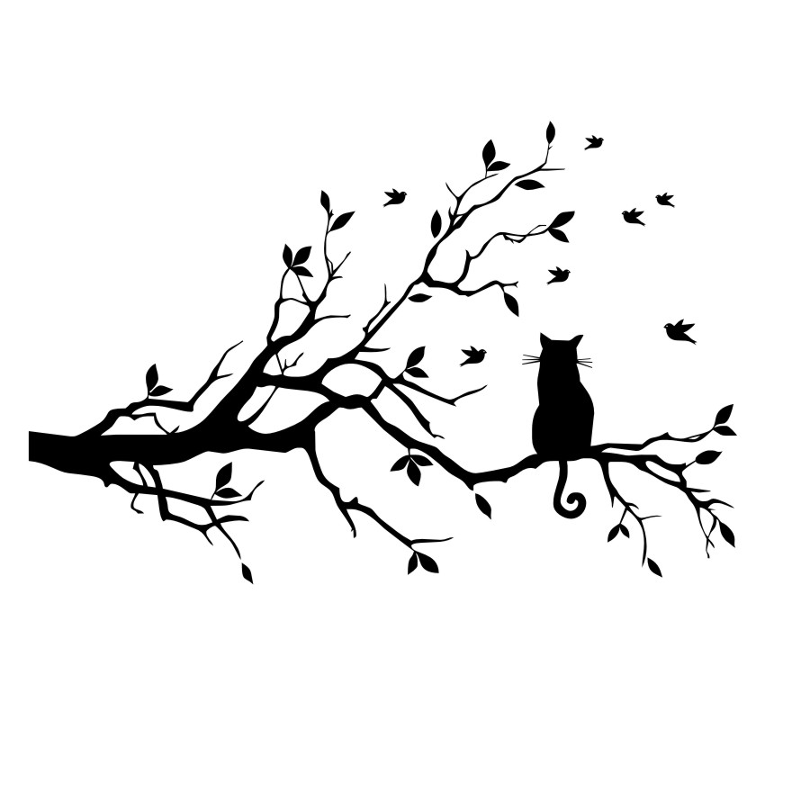Image 4 - Little Cat on the Tree with Birds Sticker Wall Art Large Home Decorative Decal for Living Room kids Bedroom Mural Wallpaper-in Wall Stickers from Home & Garden