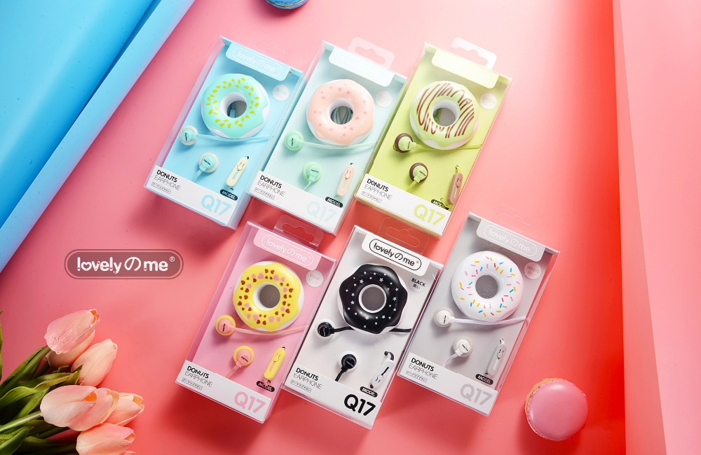 New Cute Cartoon Donuts Earphones 3.5mm in-ear with Mic Earphone Case for iPhone Xiaomi Girls Kid for MP3 MP4 Birthday Gift cute cartoon cat claw style in ear earphones for mp3 mp4 more blue white 3 5mm plug