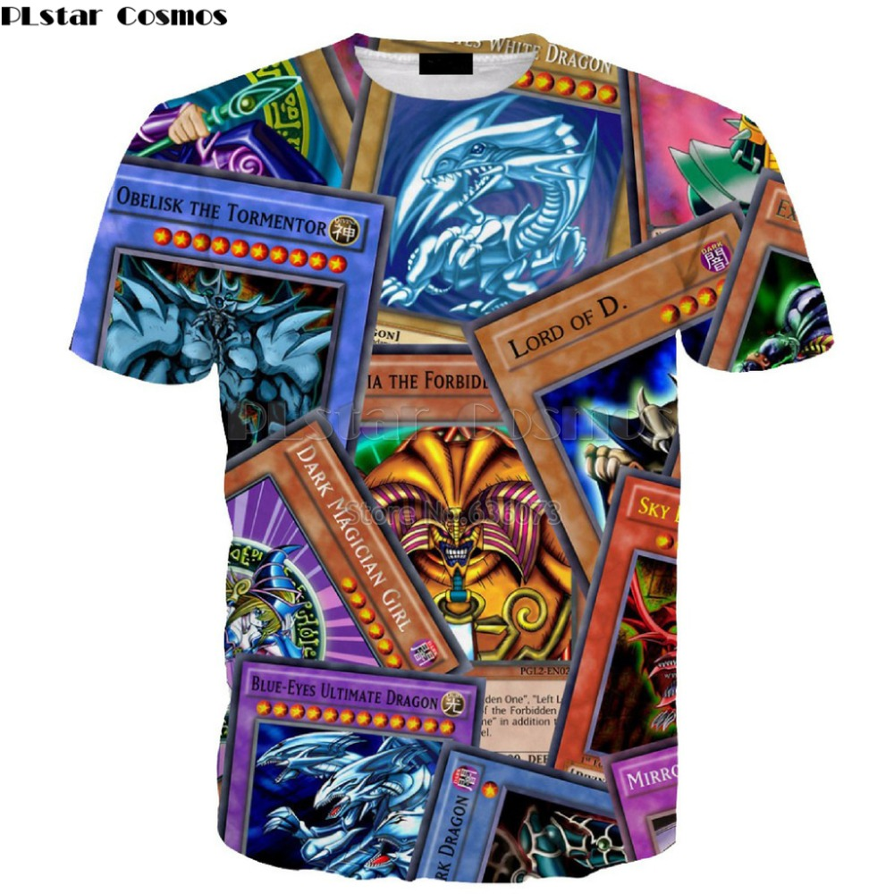 2019 Nieuwe Stijl Plstar Cosmos Drop Verzending 2018 Zomer Nieuwe Mode Heren Womens Yugioh Monster Kaarten 3d Print Casual T Shirt Ad -68