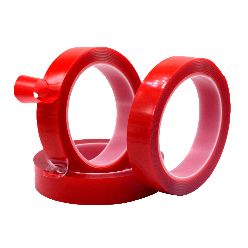 1PC 3m Car Double Sided Adhesive Foam Tape Heat Resistant Strong Acrylic PET Red Film VHB Tape 3 Meter