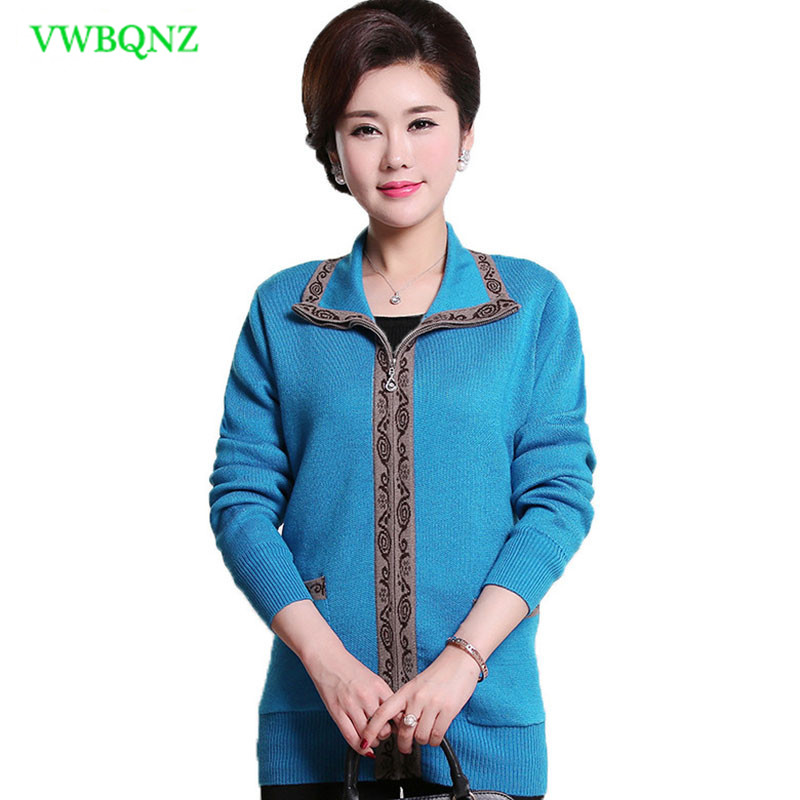 Middle-aged Women Casual Knitted Sweaters Spring Loose Standing collar Knit Cardigan Womens Plus size Cardigan Sweater 4XL A74