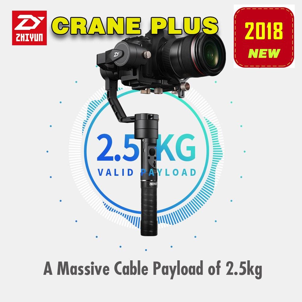2018 plus récent Zhiyun grue plus stabilisateur de cardan à main 3 axes pour reflex numérique sans miroir Sony A7/Panasonic LUMIX/Nikon J/Canon M