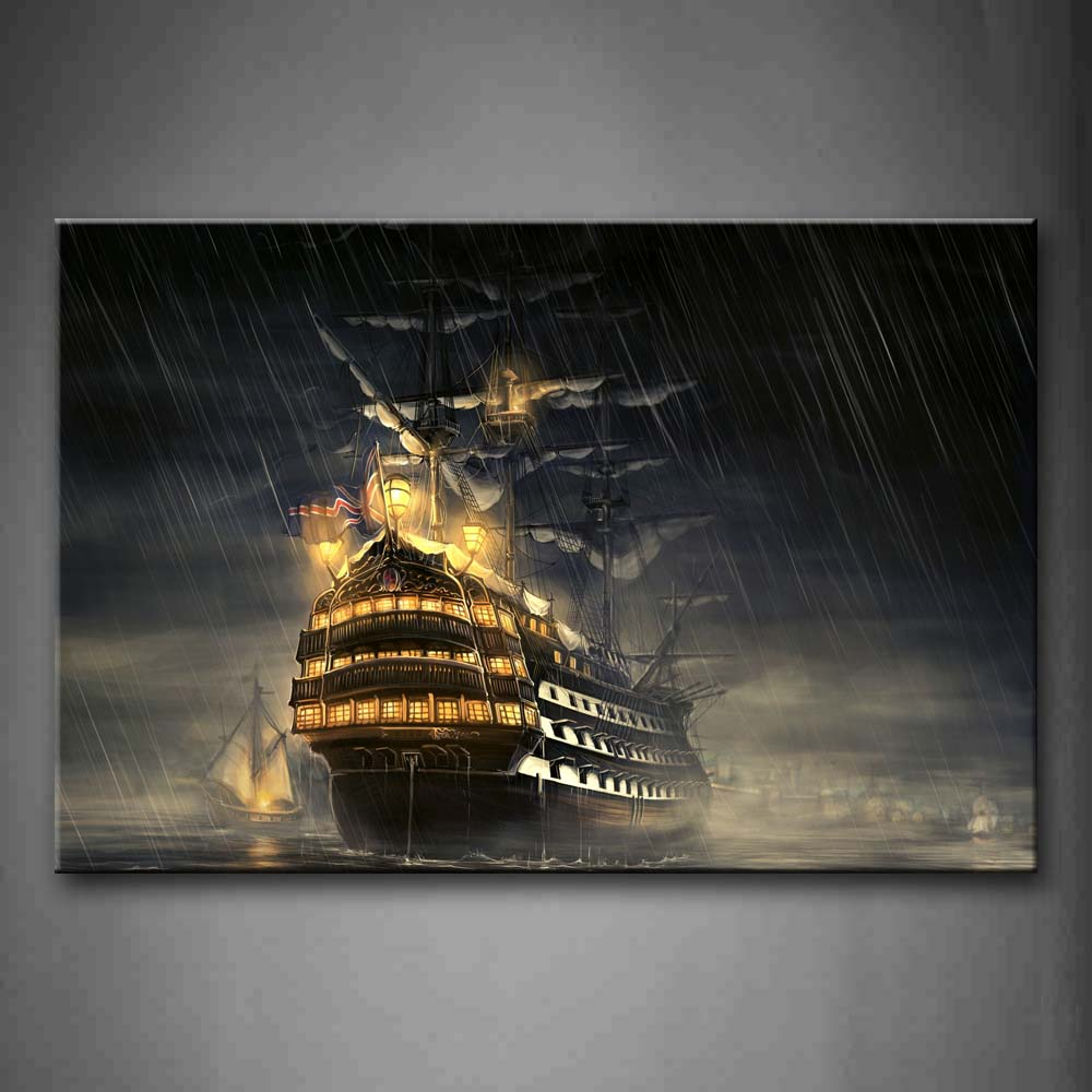 1 Pic Framed Wall Art Picture Ship Water Rainy Day Canvas Print Car Modern Poster With Wooden Frame For Living Decor1 Pic Framed Wall Art Picture Ship Water Rainy Day Canvas Print Car Modern Poster With Wooden Frame For Living Decor