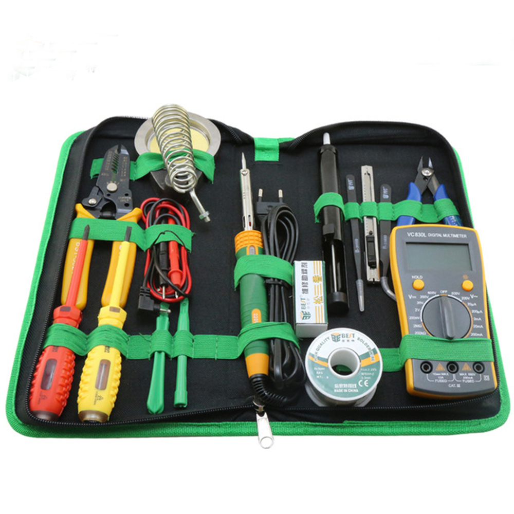 16 in 1 Household Professional Tool with Screwdrivers Soldering Iron Multimeter and Tweezers for Phone Laptop PC repair 16 in 1 household profession multi purpose repair tool set with soldering iron digital mulimeter for laptop pc tablet