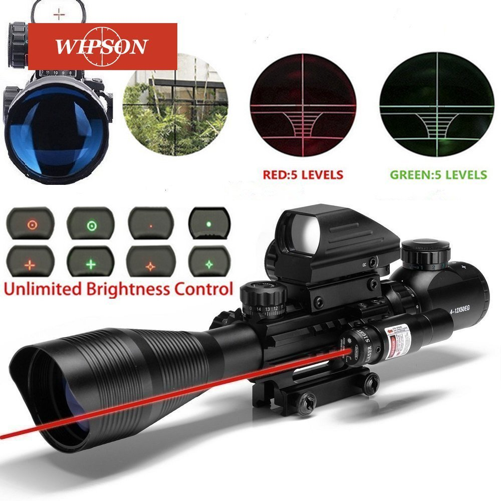 WIPSON Tactical 4-12X50EG Red & Green Illuminated Rifle Scope w/ Holographic 4 Reticle Sight & Red Laser 3 10x42 red laser m9b tactical rifle scope red green mil dot reticle with side mounted red laser guaranteed 100%