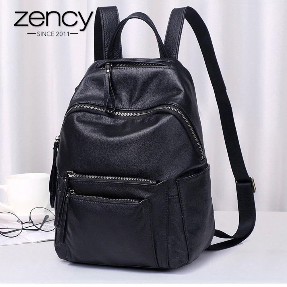 Zency 100 Genuine Leather Fashion Women Backpack High Quality Daily Holiday Knapsack Large Capacity Travel Bag