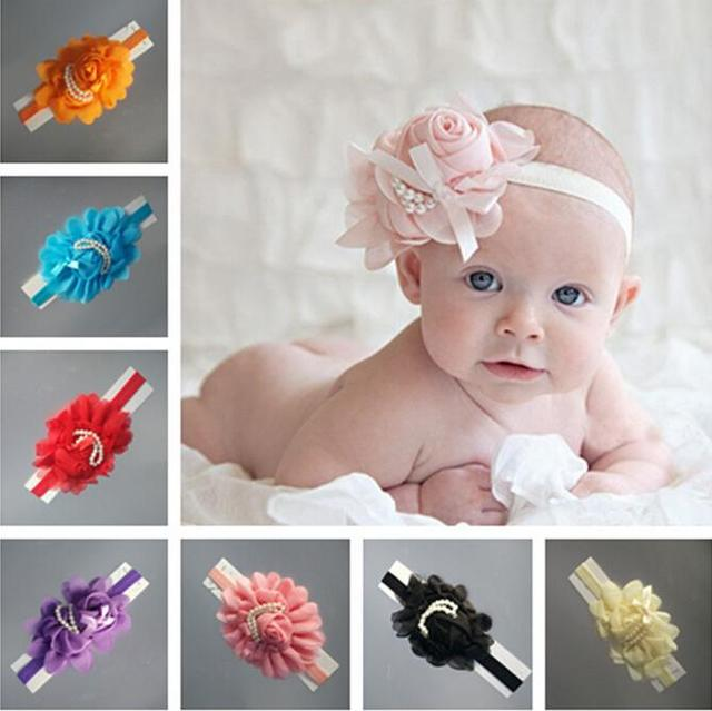 baby girl headband Infant hair accessories clothes band Flower Pearl newborn  Headwear tiara headwrap hairband Gift Toddlers 6b13e109622e