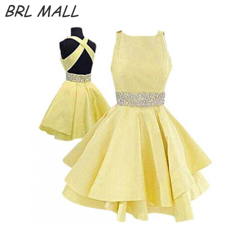 Simple Elegant Yellow Homecoming Dresses Beaded Waist Satin Backless short Graduation Dress 2018 New Prom Dress Party Gown girl