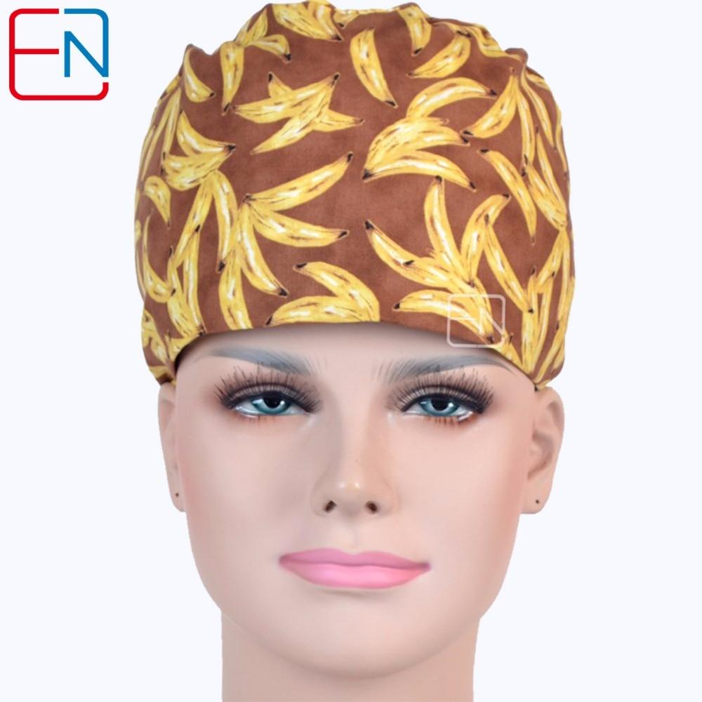 Hennarコットンドクターナースワークハット女性ブラウン印刷外科キャップ病院クリニック高品質医療キャップ用女性