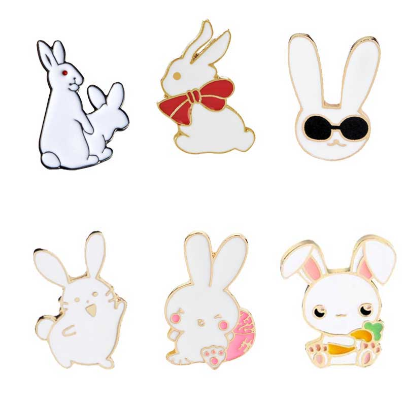 Enamel pin White rabbit figure sign cute brooches pin badge jewelry Girl gift ..