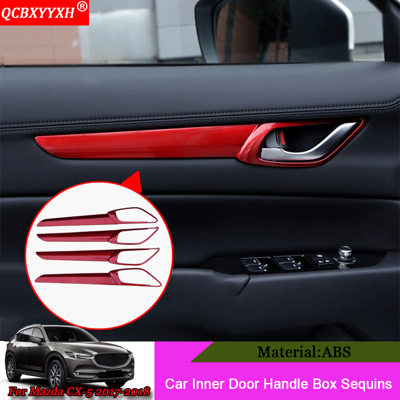 QCBXYYXH Car Styling ABS 4pcs/set Car Inner door Handle Box Sequin Stickers Auto Decoration Accessories For Mazda CX-5 2017 2018 for mazda cx 5 cx5 2017 2018 2nd gen lhd auto at gear panel stainless steel decoration car covers car stickers car styling