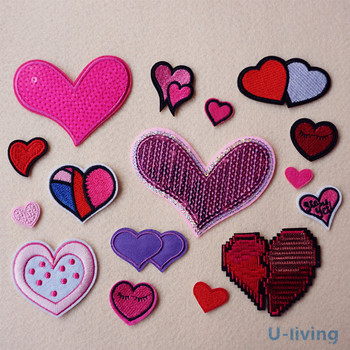 1pcs Mix hearts Patch for Clothing Iron on Embroidered Sew Applique Cute Patch Fabric Badge Garment