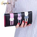 Guapabien Cute Women Wallets Lovely Purse Sweet Cat Print Snap Fastener Long Horizontal Wallet For Girl Holder Purse