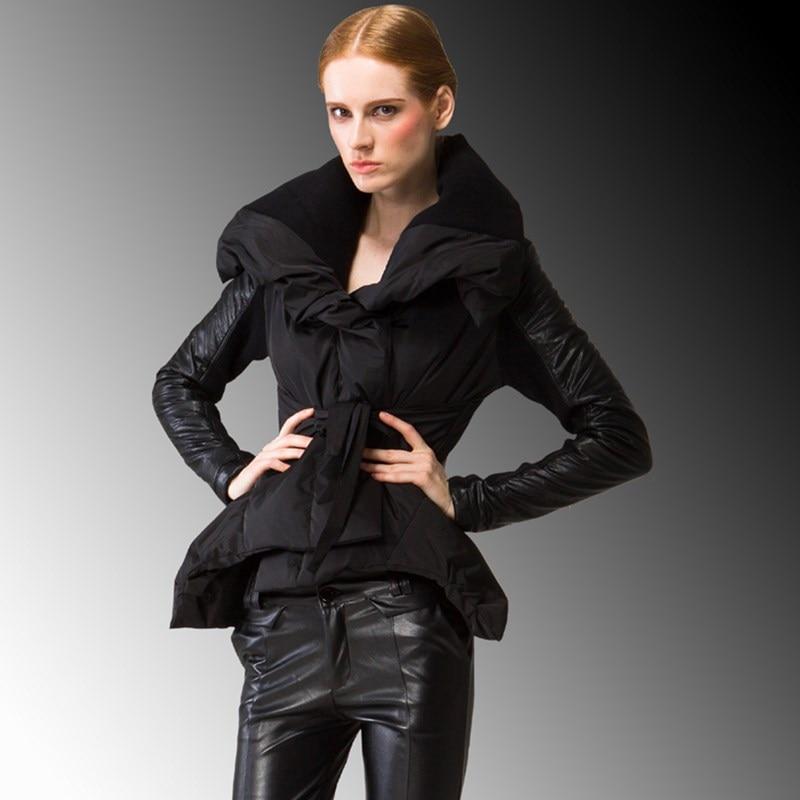 European Brand Winter Duck Down Jackets Women Short Star Temperament Coat Boutique Leather Stitching Fashionable Jacket JY-930
