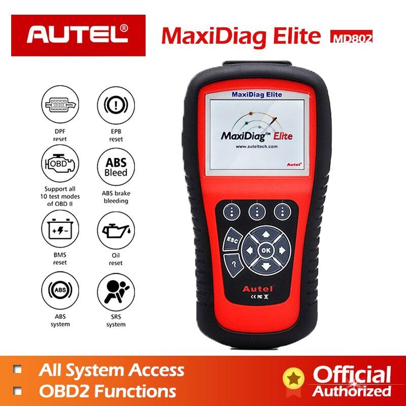 AUTEL MaxiDiag Elite MD802 Tout système + DS modèle scanner de voiture Plein Système Diagnostics pour ABS/SRS/Moteur/ transmission/EPB/Huile Enlever