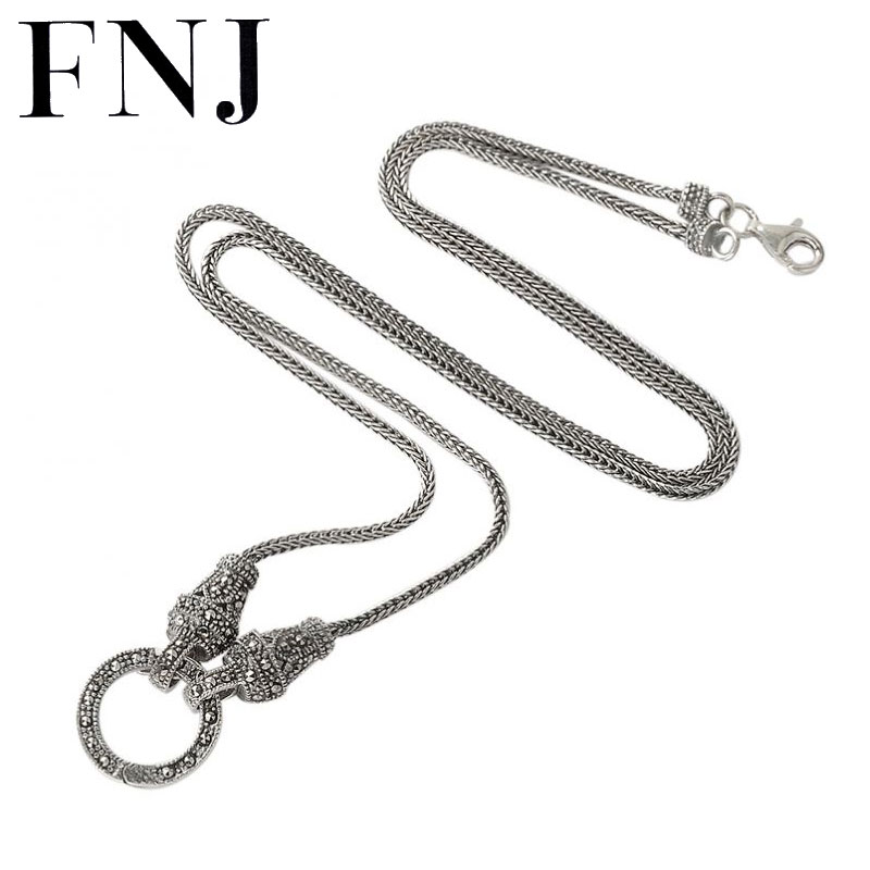 FNJ 925 Silver Fox Chain for Jewelry Making 1 5mm Original S925 Thai Silver Women Necklace