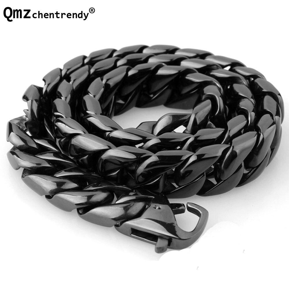 Bijoux de chaîne pour hommes Hip Hop Extra-grossier de haute qualité en acier doré noir épais en acier inoxydable grand collier de roche Hippie Chunky 15mm