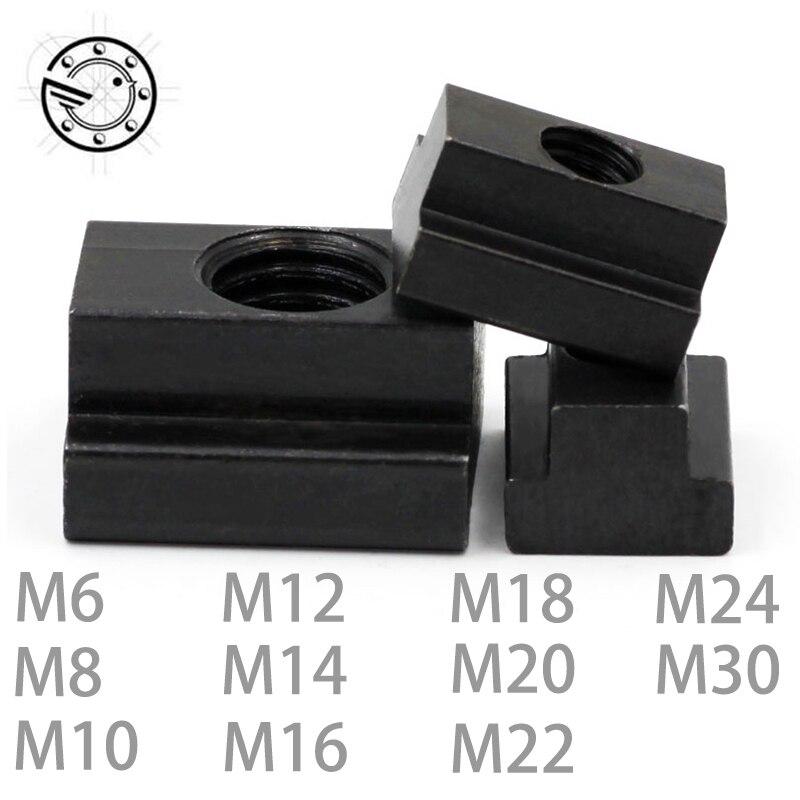M6 M8 M10 M12 M14 M16 M18 M20 M22 M24 M30 acabado de óxido negro de grado de acero al carbono 8,8 T- ranura tuerca girada a través de la ranura T-loco DT2