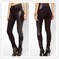 2016 New Hot Women Leather patchwork Cotton Warm Leggings Girls Elatic Fitness Black Sexy Pants Hot sale