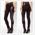2016 New Hot Women Leather patchwork Cotton Warm Leggings Girls Elatic Fitness Black Sexy Pants Hot sale