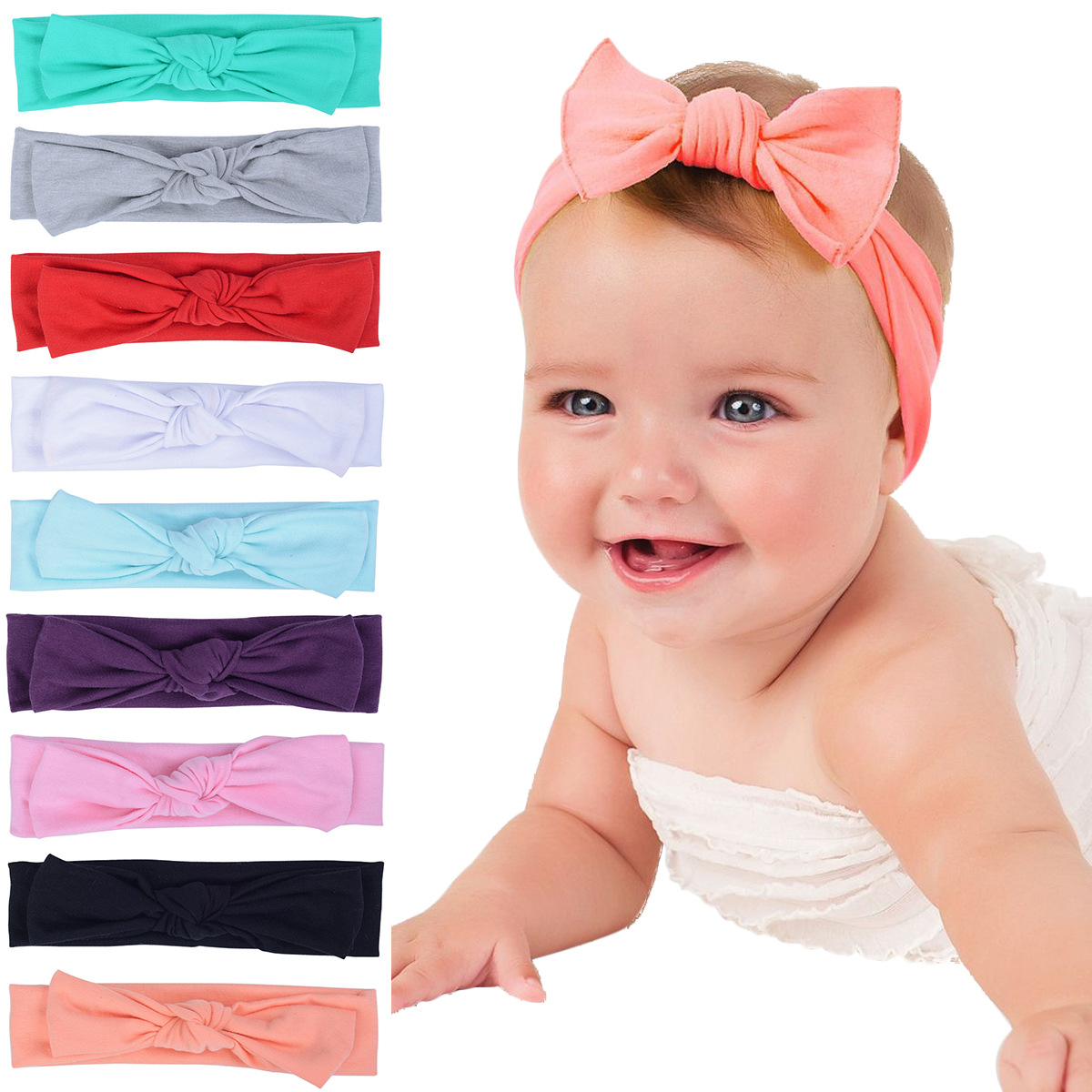2017 Rushed Baby Girls Headbands Solid Autumn And Winter Baby Hair Ornaments New Sweet Children Bow Knot Cotton Tie 2017 new sweet baby girl dancing updo hair net snood children new hair decoration top sell dance ballet hair ornaments