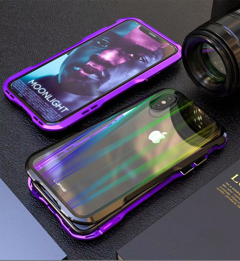 Luxury Magnetic Case For Apple iPhone XS Max Case coque Metal bumper cover For iPhone XR Case Transparent Aurora tempered glass  (11)
