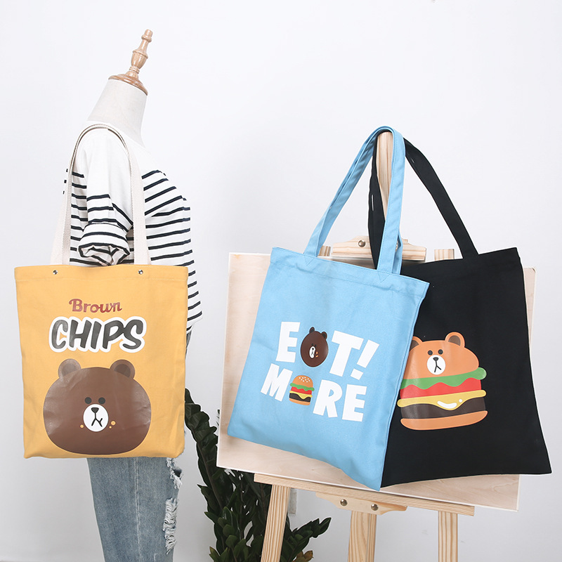 1Pc Cotton Canvas Printed Cartoon Shopping Tote Shoulder Bag 4 Colors To Choose 1013-1