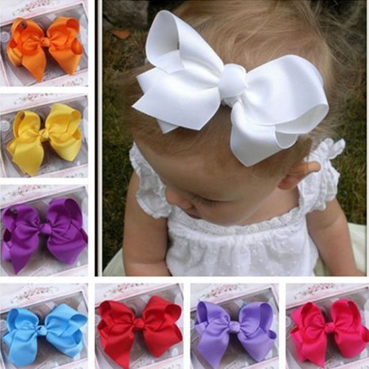Hot Sale Grosgrain Ribbon Bow Hair Clip Pin Flower  Headdress Accessories Orange Pink Green Yellow White Black