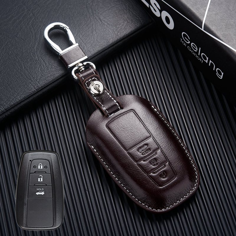 Leather Key Fob Cover Holder for 2018 2019 Toyota Camry ...