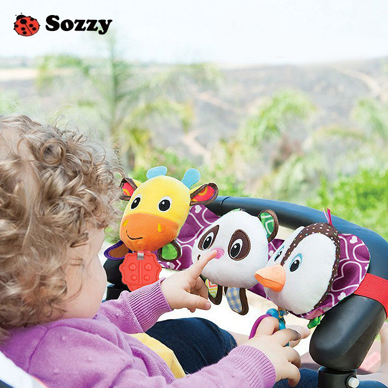 Sozzy Musical Baby Rattle Stroller Vocal Toys Children Hanging Car Ring Giraffe Panda Bed Seat Teether Toys For 0-12 Months