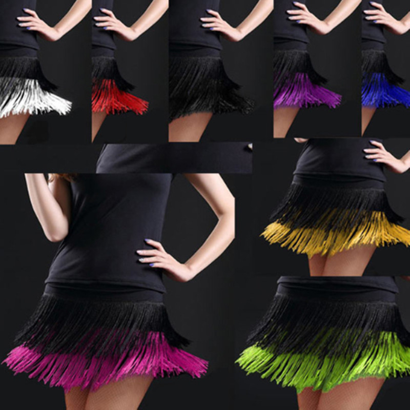 Image 5 - 2019 hot sale Fashion sexy Adult Lady dance dance skirt women's double tassel Latin dance skirt fringed skirts 8 kind colors-in Latin from Novelty & Special Use