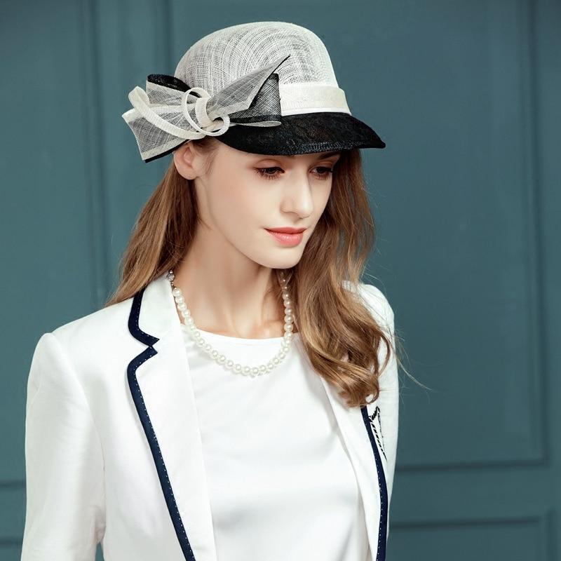 Women Elegant Linen Wedding Hats Lady Fashion White Fedoras Cap Summer Floral Feather Kentucky Derby Ladies