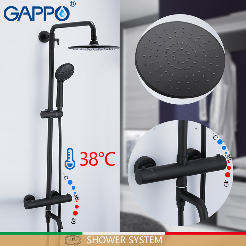 GAPPO Shower System Black Bathroom Shower Set Bath Shower Mixers Waterfall Thermostatic Mixer Tap Wall Mounted Bathtub Faucet