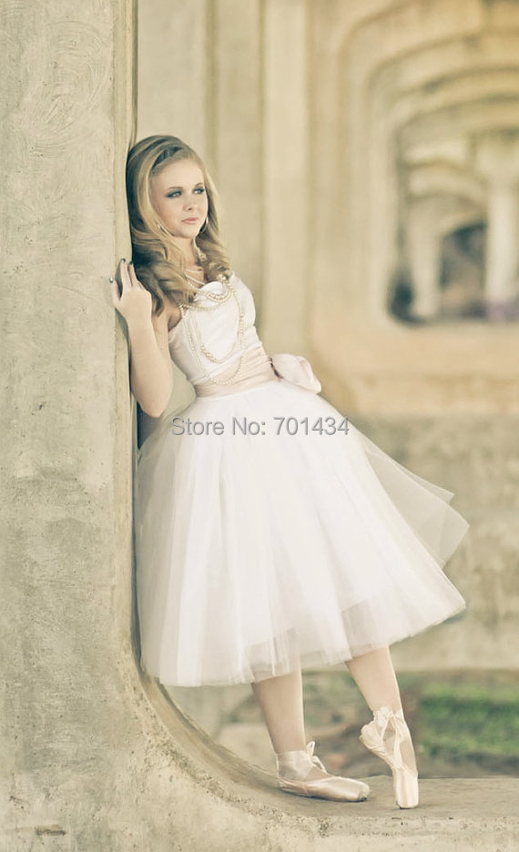Cute Style Strapless Ruched Bow Sash Short Wedding Gown 2016 Backless Y Tulle White