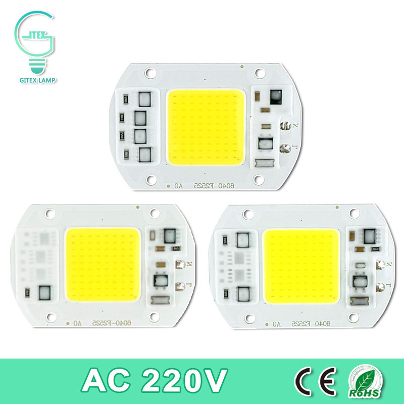 COB LED Lamp Chip Real Power 10W 15W 20W 30W 50W LED Lamp Bulb 220V 240V IP65 Smart IC For DIY LED Flood Light Spotlight sumbulbs dc chip on board 10w 20w 30w 50w 200w round cob led light source super bright 3000k 4000k 6000k white led bulb lamp diy