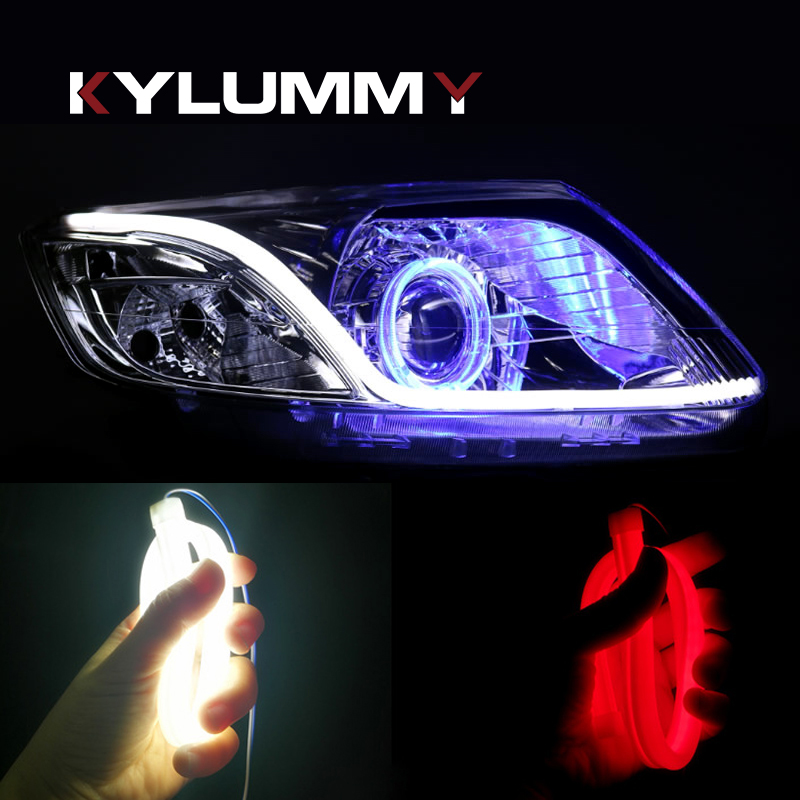 KYLUMMY 2pcs DRL 30 45 60cm LED Flexible Soft Tube Guide Turn signal lamp Car Strip White Yellow Red Blue Daytime Running Light free shipping 60cm flexible daytime running light 4 colors available white yellow blue red day driving switchback drl