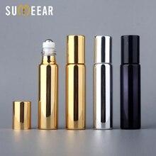 Mini botellas portátiles de aceite esencial, botella de Perfume de cristal UV, recargable, botellas de viaje con rodillo de aceite esencial vacío, 10ML
