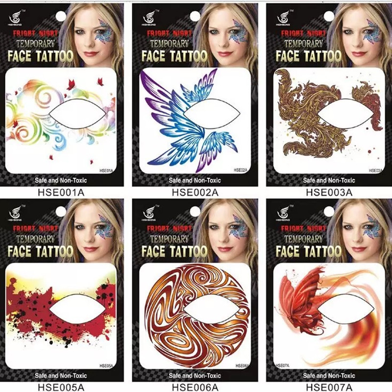 2017 Nuevos exclusivos 35 estilos de maquillaje para fiestas Eye Face Tattoo Impermeable etiqueta de sombra de ojos desechable rock style party makeup girls