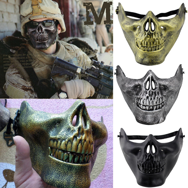 costume halloween airsoft skull mask motorcycle skeleton half face mask role cosplay 4 colors