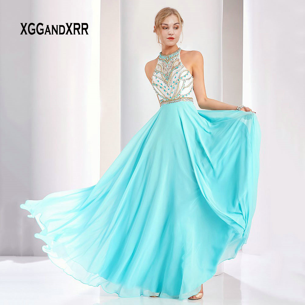 Elegant O Neck Long Blue   Prom     Dresses   2019 Sexy Off the Shoulder Beading Crystals Evening Gown Chiffon Formal Party Gown