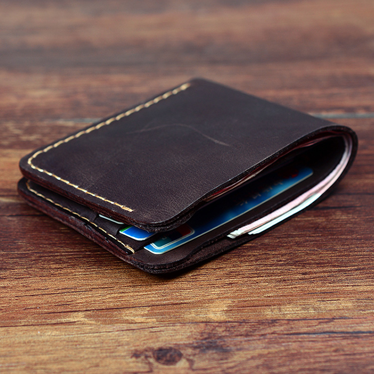 Top Quality Handmade Genuine Leather Men Wallet Designer Vintage Minimalist Wallet Portfolio Man