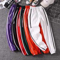 Femmes survêtement pantalons 2019 nouveauté printemps et automne noir blanc rouge violet vert femme pantalon étudiant adolescent filles N06