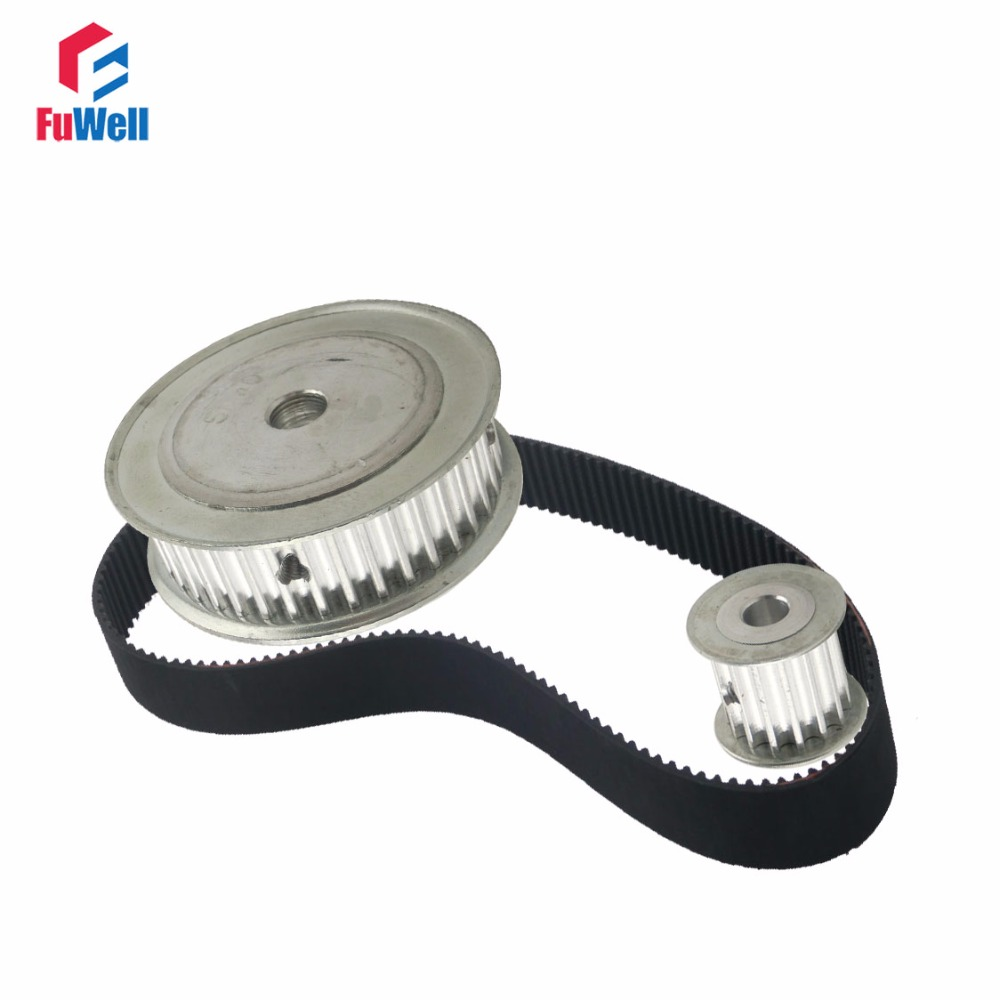 HTD5M Reduction Timing Belt Pulley Set 12T:60T 1:5/5:1 Ratio 80mm Center Distance Gear Kit Shaft 5M-360 Toothed Belt PulleyHTD5M Reduction Timing Belt Pulley Set 12T:60T 1:5/5:1 Ratio 80mm Center Distance Gear Kit Shaft 5M-360 Toothed Belt Pulley